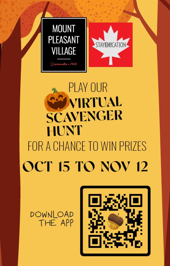 Scavenger Hunt Mount Pleasant Village BIA poster